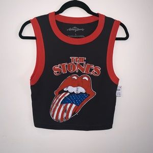 The Rolling Stones Gray/Red Crop Top